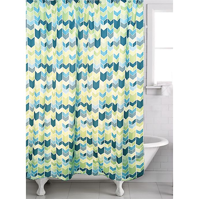 Alternate image 1 for Braxton Geometric Shower Curtain in Teal/Green