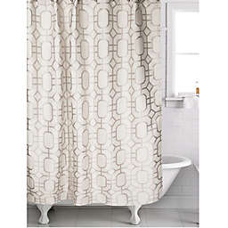 Corinth Jacquard Shower Curtain in Silver/White