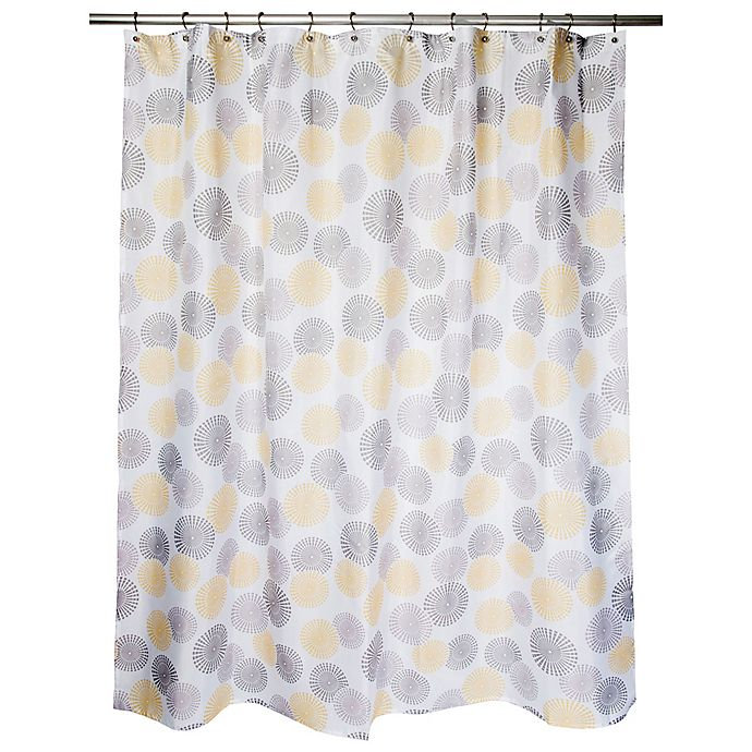 Alternate image 1 for Focus Medallion Shower Curtain in Yellow/Taupe