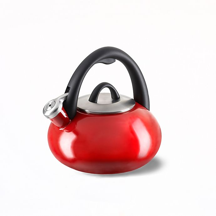 Alternate image 1 for Calphalon® Enameled Steel 2-Quart Tea Kettle in Cherry Red