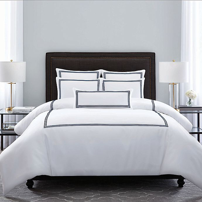 Alternate image 1 for Wamsutta® Hotel Triple Baratta Stitch Full/Queen Comforter Set in Navy