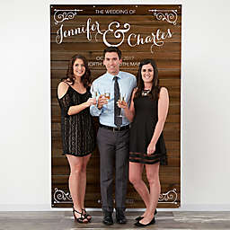 Rustic Wood 58-Inch x 90-Inch Wedding Photo Backdrop