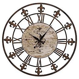 Ridge Road Décor Fleur-De-Lis Wall Clock in Rust Brown