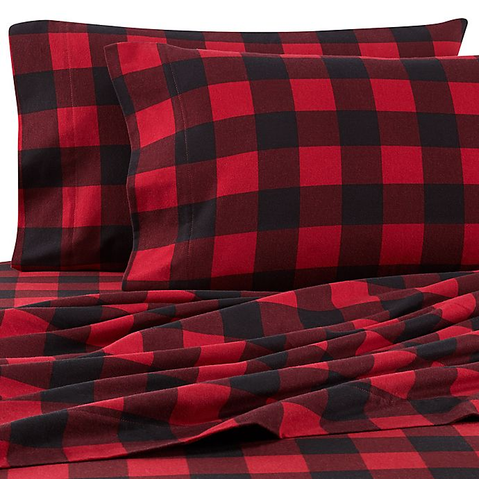 Alternate image 1 for The Seasons Collection® HomeGrown™ Buffalo Plaid California King Flannel Sheet Set