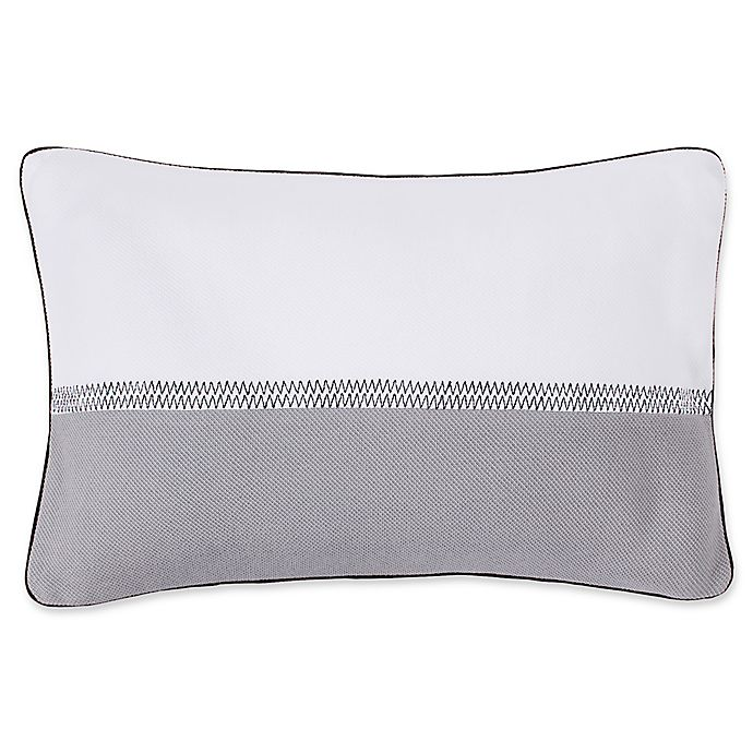Alternate image 1 for Lacoste Embroidery Line Oblong Throw Pillow in Alloy Grey