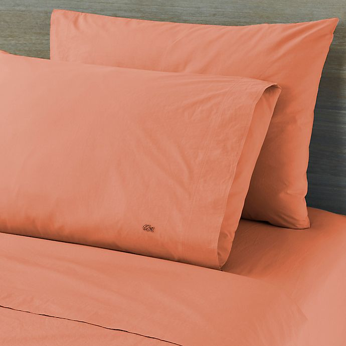 Alternate image 1 for Lactose Solid Washed Percale 300-Thread-Count King Pillowcases in Coral Pink (Set of 2)