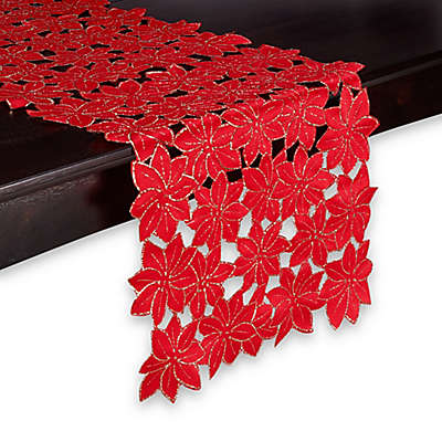 Sam Hedaya Poinsettia Cluster Table Runner