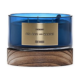 DW Home Sea Salt and Marine Wood-Accent 17 oz. 3-Wick Jar Candle in Blue