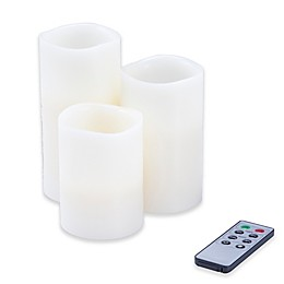 Nottingham Home Flameless Candles & Remote (Set of 3)