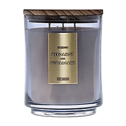 DW Home Bergamot and Sugarcane Wood-Accent 29 oz. 3-Wick Jar Candle in Grey