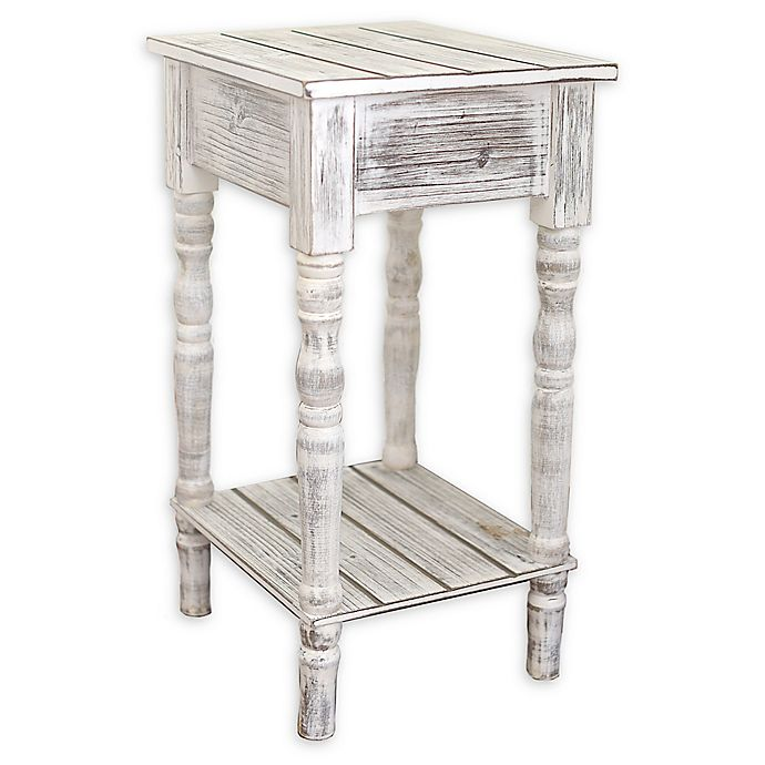 Coastal Collection Small Coastal End Table In White