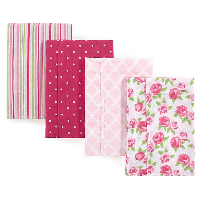 Alternate image 1 for Hudson Baby® 4-Pack Rose Flannel Burp Cloths in Pink