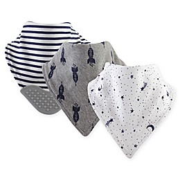 Yoga Sprout 3-Pack Moon Bandana Bib With Teether in Grey