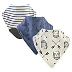 Yoga Sprout 3-Pack Wild Woodland Bandana Bib With Teether in Blue