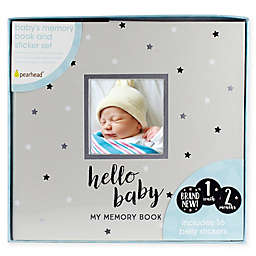 "Pearhead® ""Hello Baby"" Stars Baby Memory Book and Sticker Set in Grey"