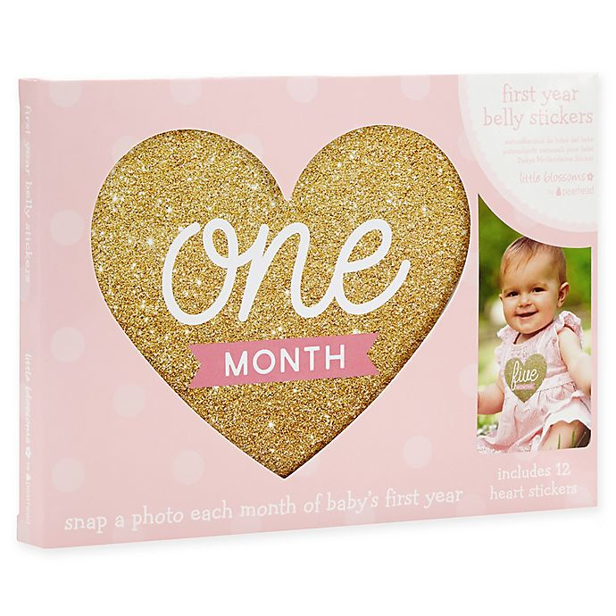 Alternate image 1 for Little Blossoms by Pearhead® Baby's First Year Monthly Belly Stickers in Gold/Pink