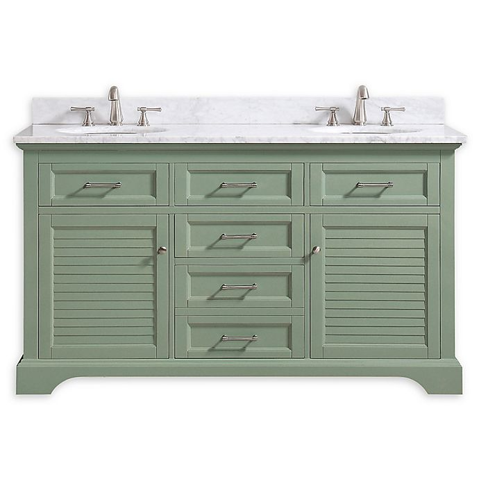 Alternate image 1 for Avanity™ Colton 61-Inch Double Vanity in Basil with White Carrera Marble Top