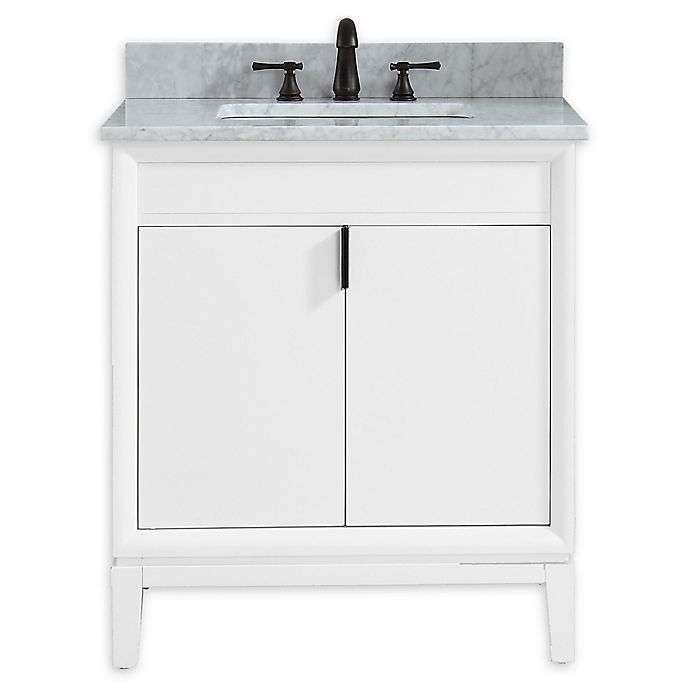Alternate image 1 for Avanity™ Emma 31-Inch Vanity Combo in White with white Carrera Marble Top and Sink