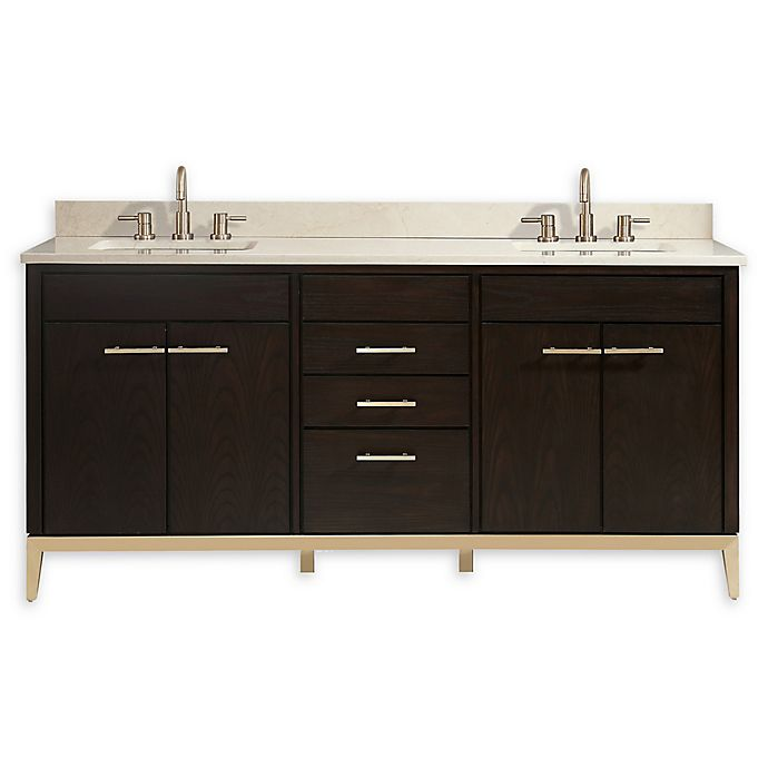 Alternate image 1 for Avanity™ Hepburn 73-Inch Vanity Combo with Crema Marfil Marble Top and Sink