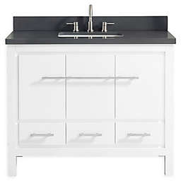 Azzuri Riley 43-Inch Vanity Combo in White with Quartz Top in Grey
