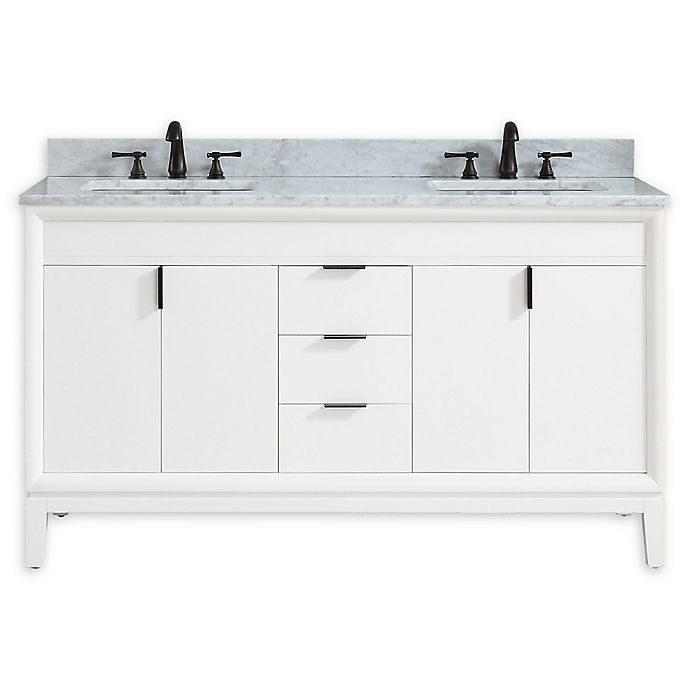 Alternate image 1 for Avanity™ Emma 61-Inch Vanity Combo in White with White Carrara Marble Top and Sinks