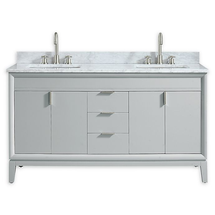 Alternate image 1 for Avanity™ Emma 61-Inch Vanity Combo in Dove Gray with White Carrara Marble Top and Sinks