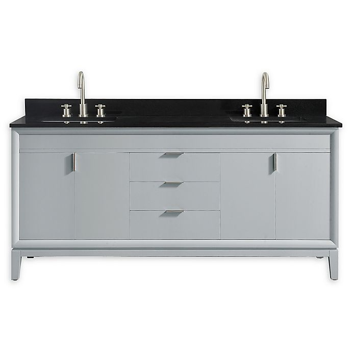 Alternate image 1 for Avanity™ Emma 73-Inch Vanity Combo in Dove Gray with Black Granite Top and Sink