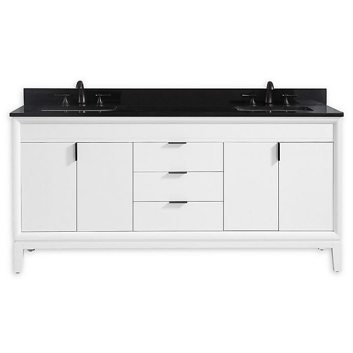 Alternate image 1 for Avanity™ Emma 73-Inch Vanity Combo in White with Black Granite Top and Sink