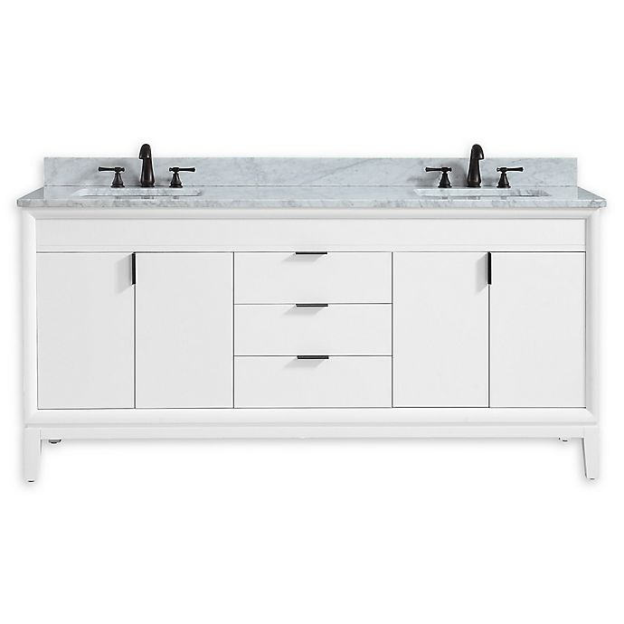 Alternate image 1 for Avanity™ Emma 73-Inch Vanity Combo in White with White Carrara Marble Top and Sink
