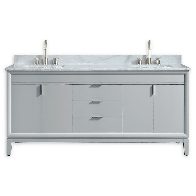 Alternate image 1 for Avanity™ Emma 73-Inch Vanity Combo in Dove Gray with white Carrara Marble Top and Sink