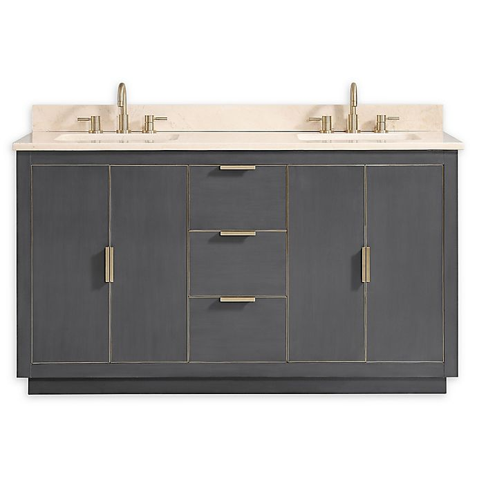 Alternate image 1 for Avanity™ Austen 61-Inch Vanity Combo with Matte Gold Trim & Crema Marfil Marble Top & Sinks