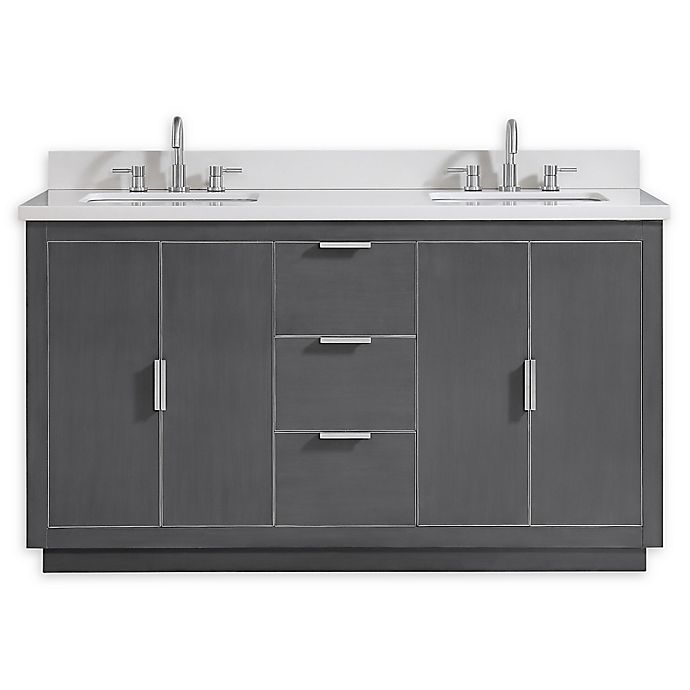 Alternate image 1 for Avanity™ Austen 61-Inch Vanity Combo with Brushed Silver Trim and White Quartz Top and Sinks