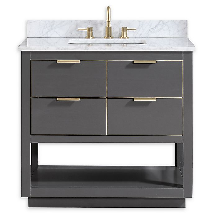 Alternate image 1 for Avanity™ Allie 37-Inch Vanity Combo with Matte Gold Trim and White Carrara Marble Top and Sink