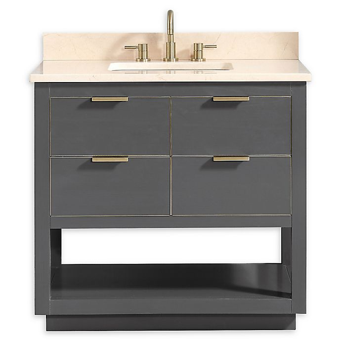 Alternate image 1 for Avanity™ Allie 37-Inch Vanity Combo with Matte Gold Trim and Crema Marfil Marble Top and Sink