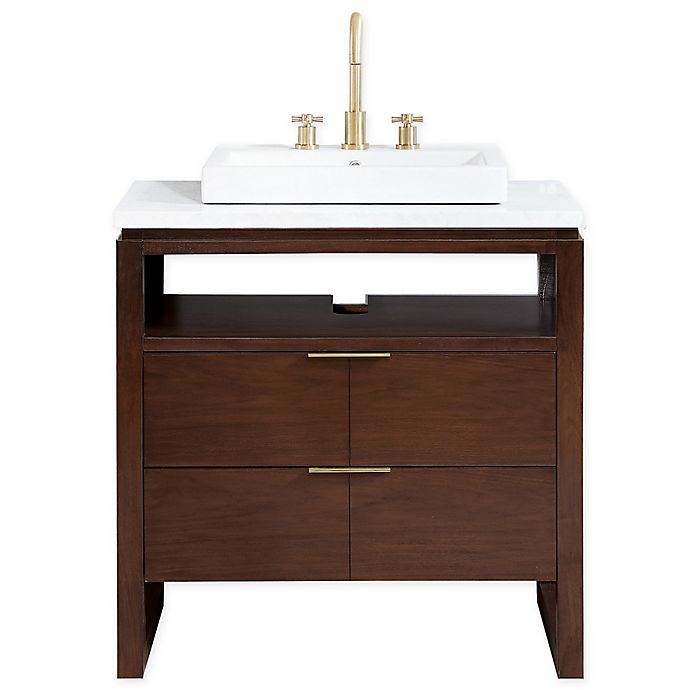Alternate image 1 for Avanity Giselle 33-Inch Vanity in Walnut with Carerra Marble Top Collection