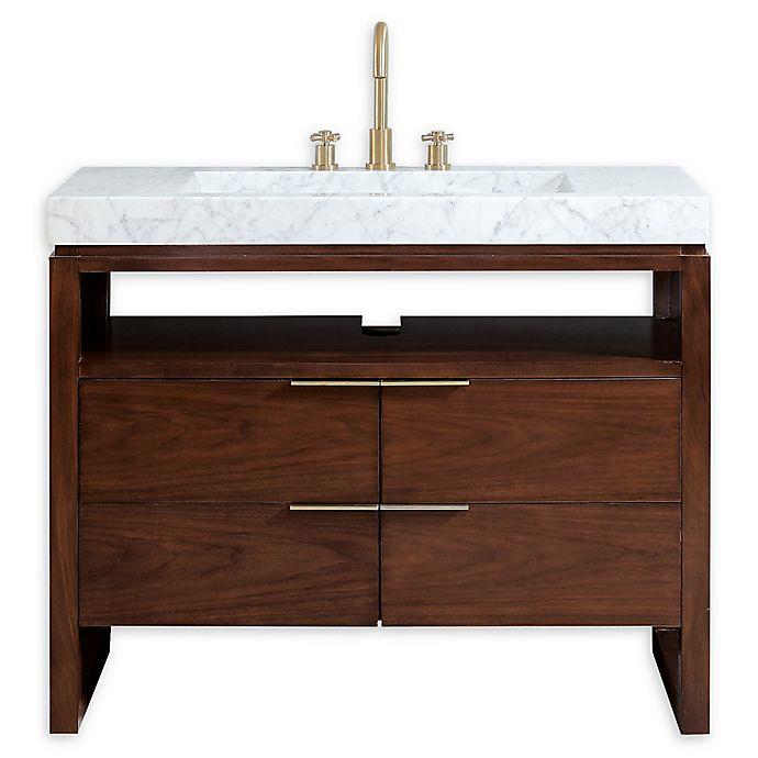 Alternate image 1 for Avanity Giselle 43-Inch Vanity in Walnut with Carrera White Marble Sink Top