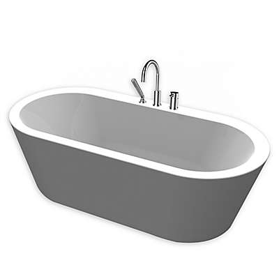 """A&E Bath and Shower Una 71"""" Freestanding tub with Faucet in White"""