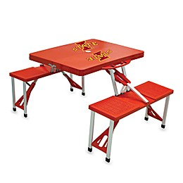 NCAA Iowa State University Collegiate Foldable Table with Seats in Red