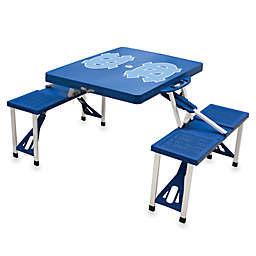 NCAA Blue Collegiate Foldable Table with Seats - University of North Carolina