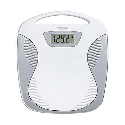 Conair Thinner Portable Digital Bathroom Scale in White/Silver