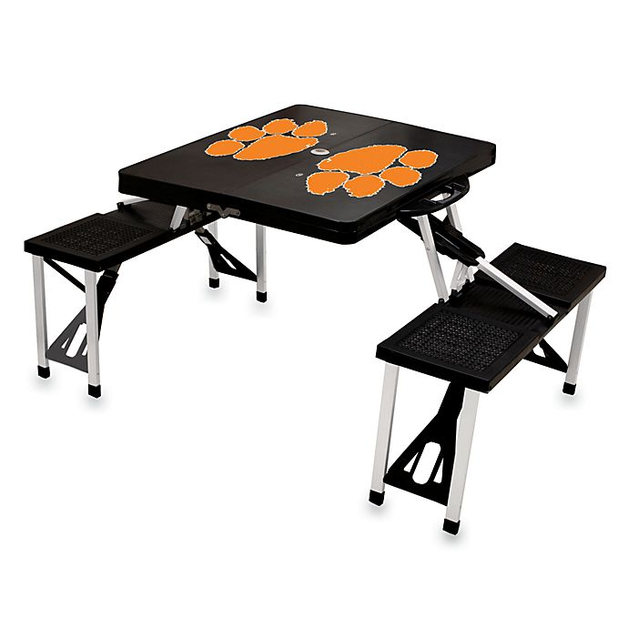 Alternate image 1 for Picnic Time® Clemson University Collegiate Foldable Table with Seats in Black