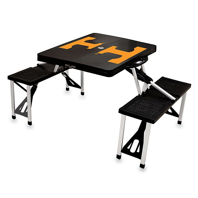 Alternate image 1 for Picnic Time® University of Tennessee Collegiate Foldable Table with Seats in Black
