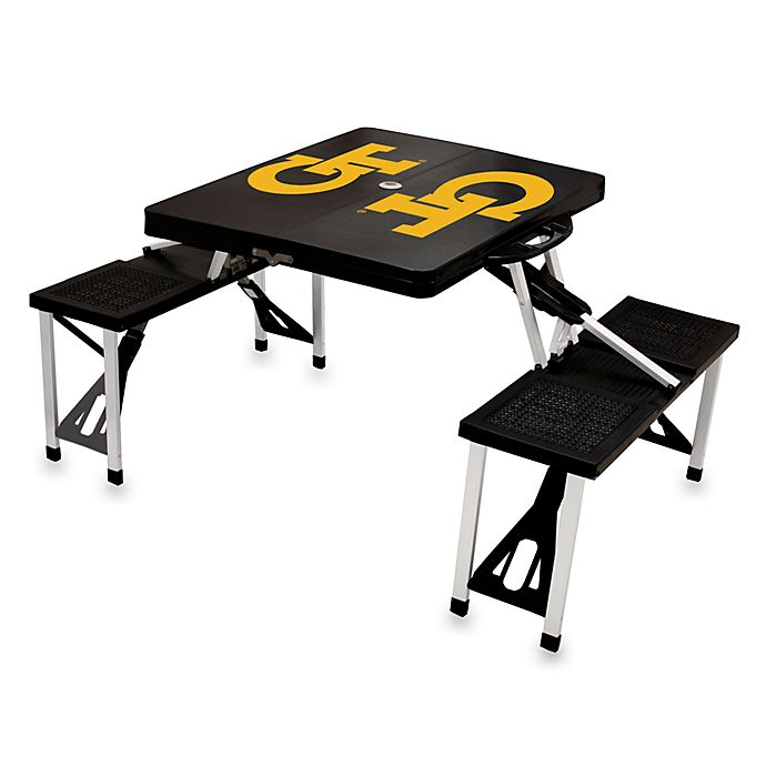 Alternate image 1 for Picnic Time® Georgia Tech Collegiate Foldable Table with Seats in Black