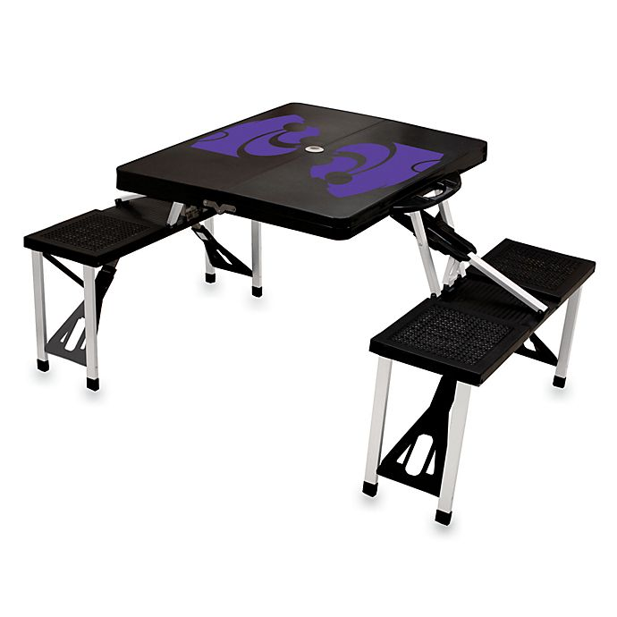Alternate image 1 for Picnic Time® Kansas State University Collegiate Foldable Table with Seats in Black