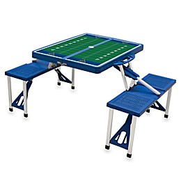 NCAA West Virginia University Collegiate Foldable Table with Seats in Black
