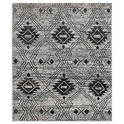 ECARPETGALLERY Sari Silk 8'1 x 9'6 One of a Kind Rug in Black/Cream