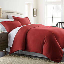 Solid Twin Duvet Cover Set in Burgundy