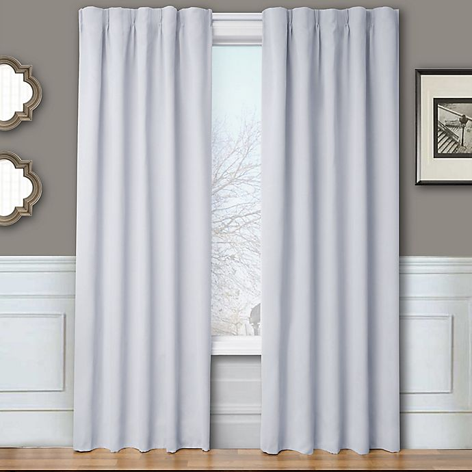 Alternate image 1 for Blackout 84-Inch Window Curtain Panel Pair with Hardware in Silver