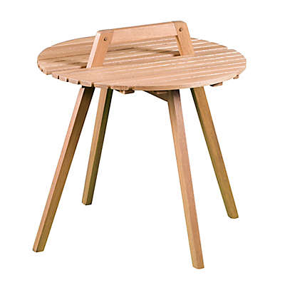 Southern Enterprises Pamona Round Outdoor Side Table in Natural