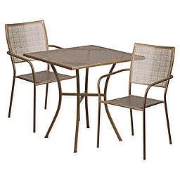 Flash Furniture 3-Piece Square Metal Patio Dining Set